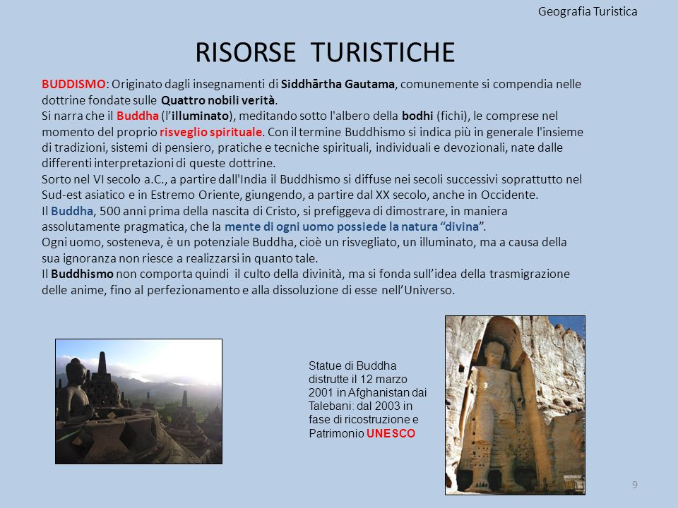 RISORSE TURISTICHE Geografia Turistica