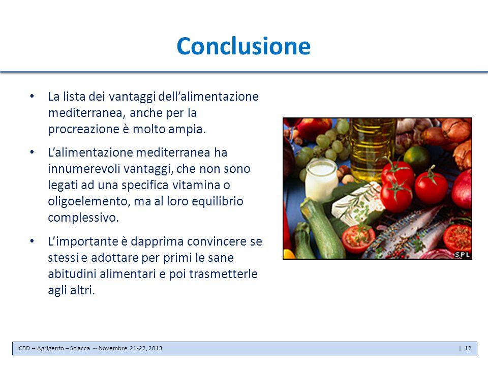 Conclusione La lista dei vantaggi dell'alimentazione mediterranea, anche per la procreazione è molto ampia.