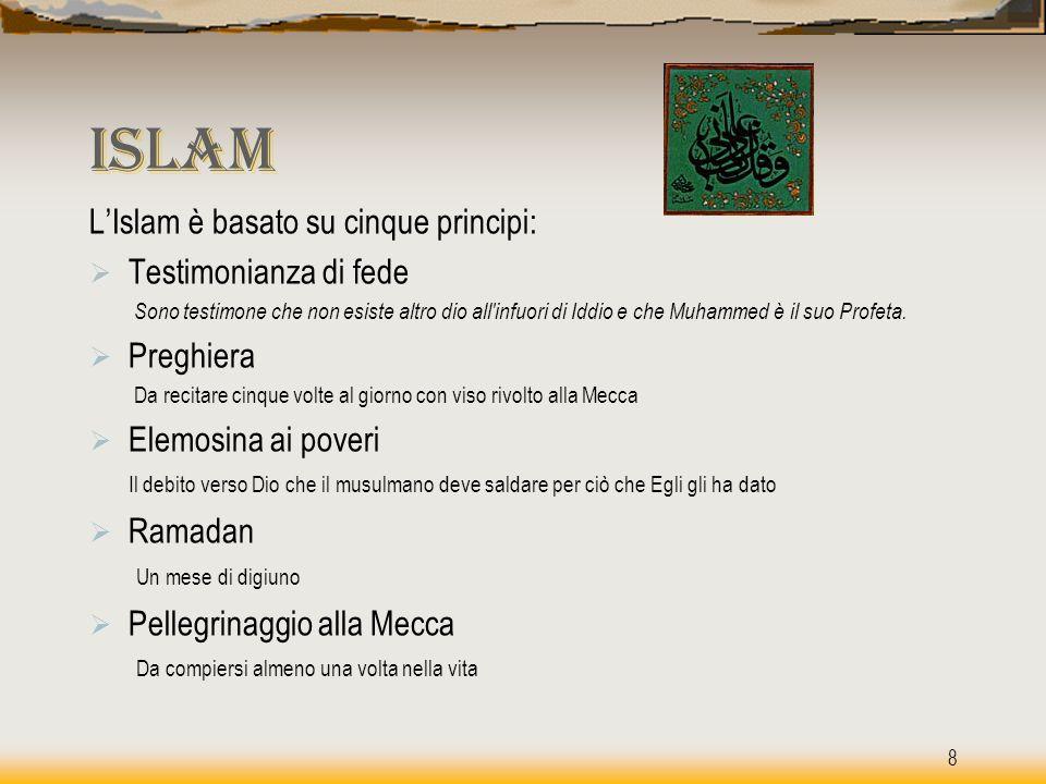 Islam L'Islam è basato su cinque principi: Testimonianza di fede