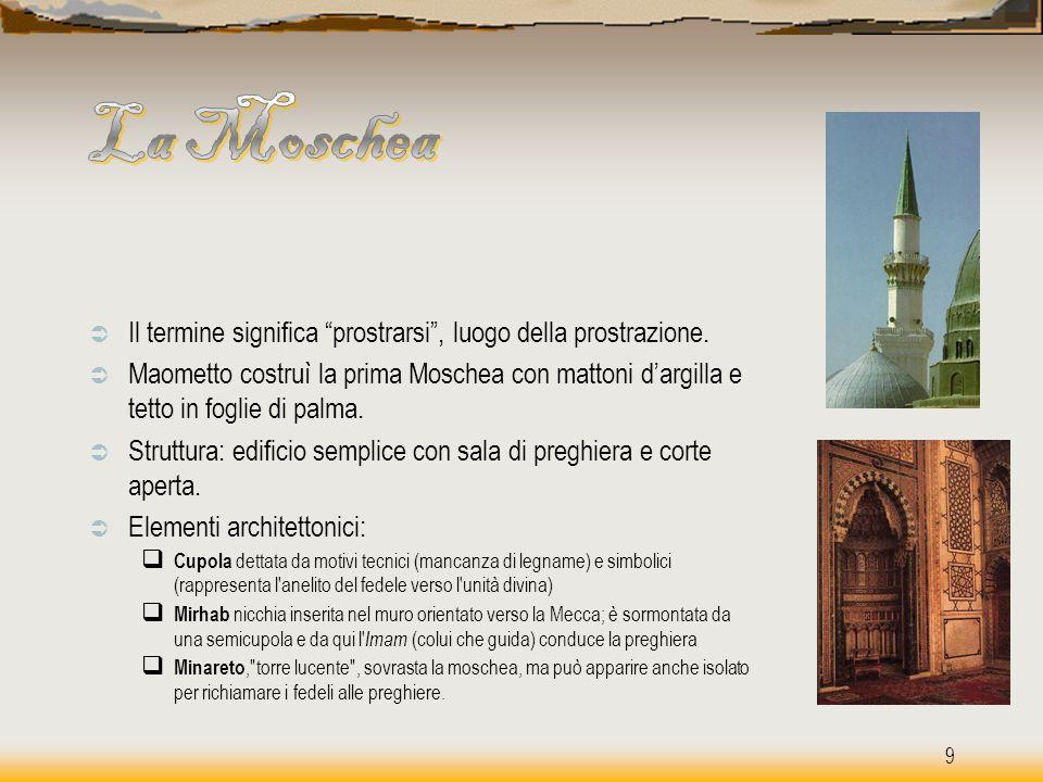 La Moschea Il termine significa prostrarsi , luogo della prostrazione.