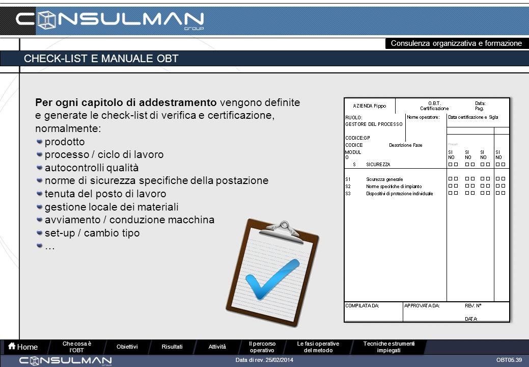 CHECK-LIST E MANUALE OBT