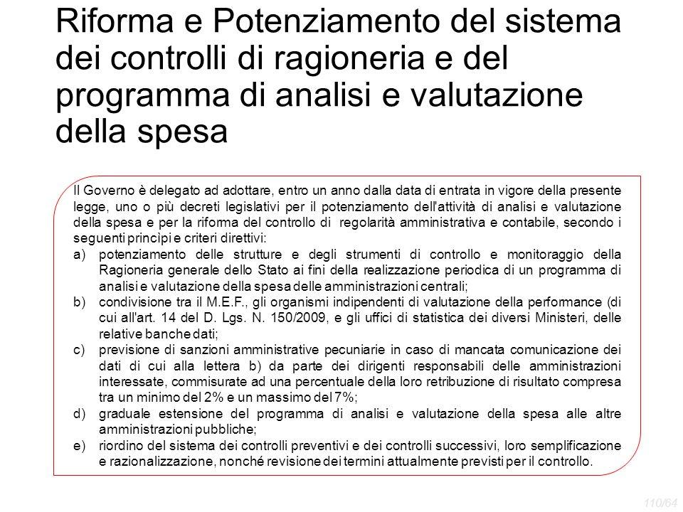 Riforma e Potenziamento del sistema dei controlli di ragioneria e del programma di analisi e valutazione della spesa