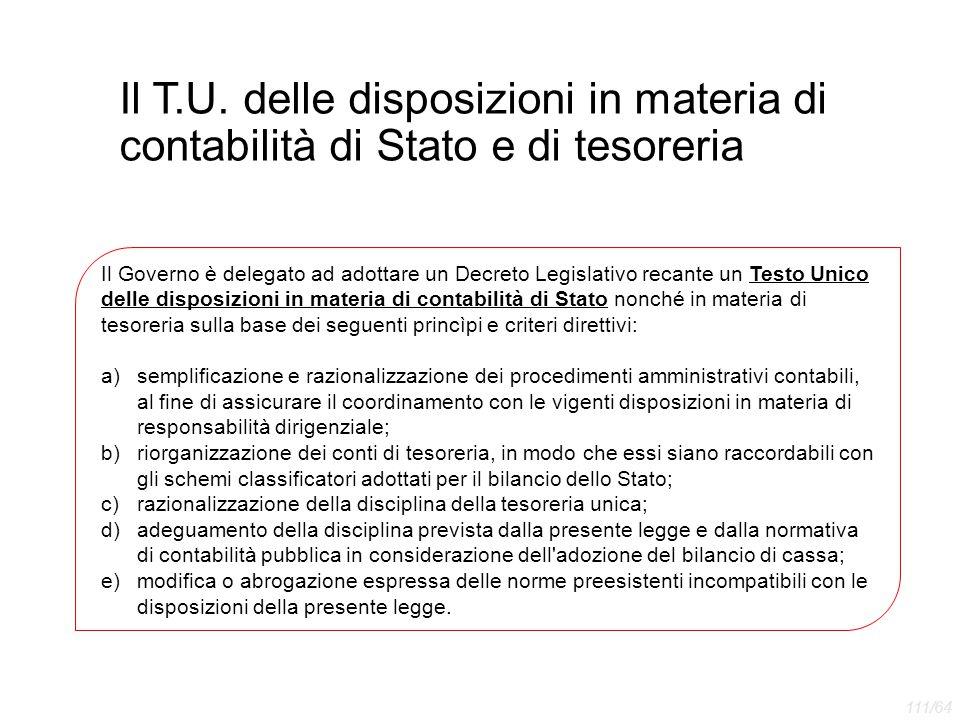 Il T.U. delle disposizioni in materia di contabilità di Stato e di tesoreria