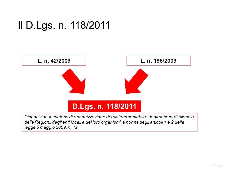 Il D.Lgs. n. 118/2011 D.Lgs. n. 118/2011 L. n. 42/2009 L. n. 196/2009