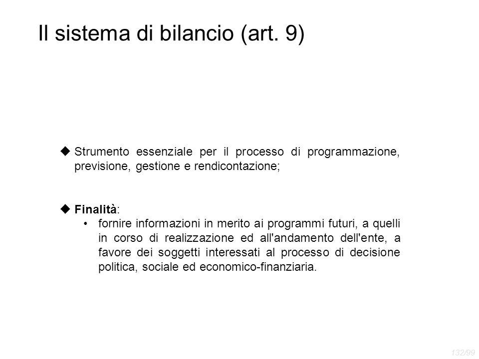 Il sistema di bilancio (art. 9)