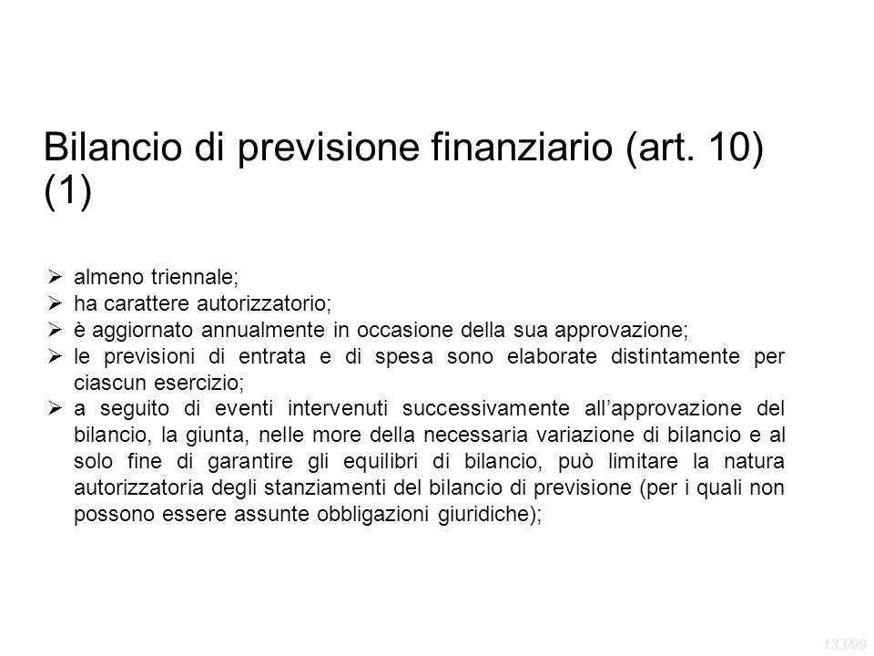 Bilancio di previsione finanziario (art. 10) (1)
