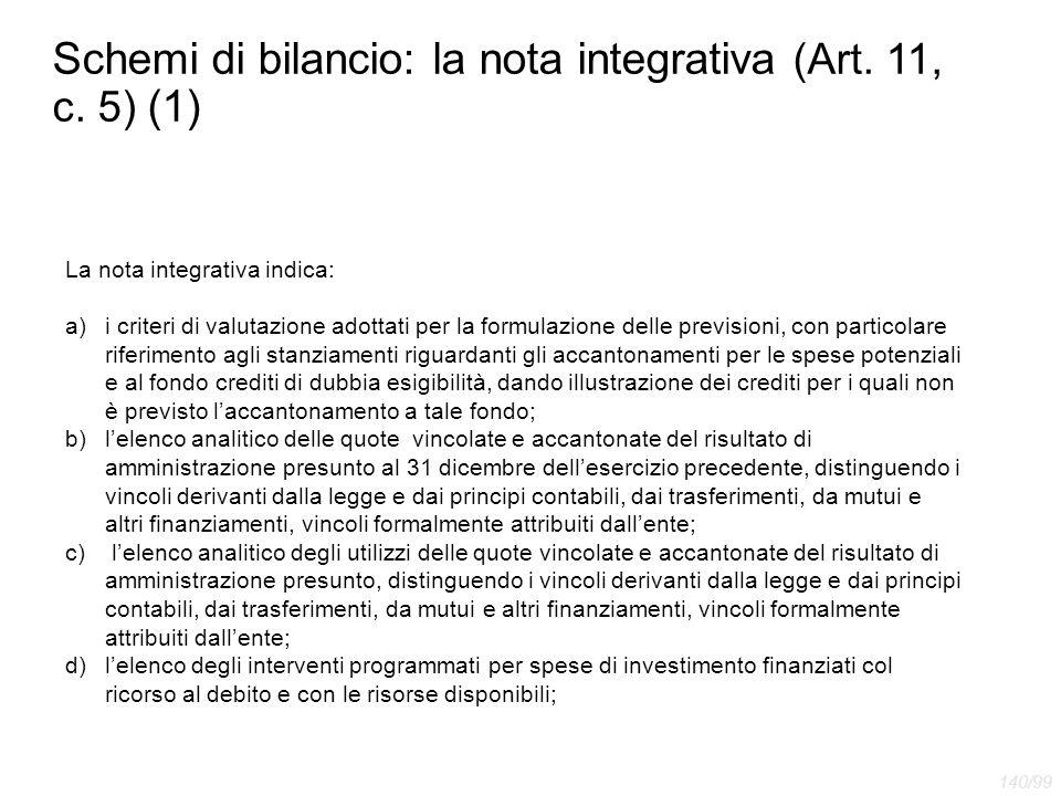 Schemi di bilancio: la nota integrativa (Art. 11, c. 5) (1)