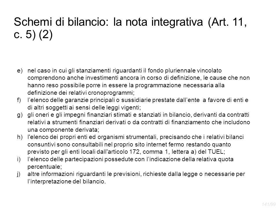Schemi di bilancio: la nota integrativa (Art. 11, c. 5) (2)
