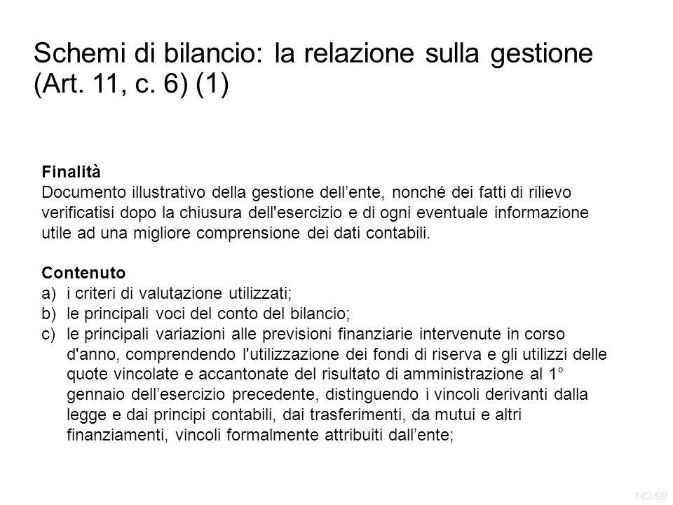 Schemi di bilancio: la relazione sulla gestione (Art. 11, c. 6) (1)