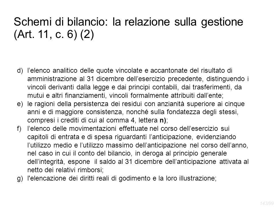 Schemi di bilancio: la relazione sulla gestione (Art. 11, c. 6) (2)