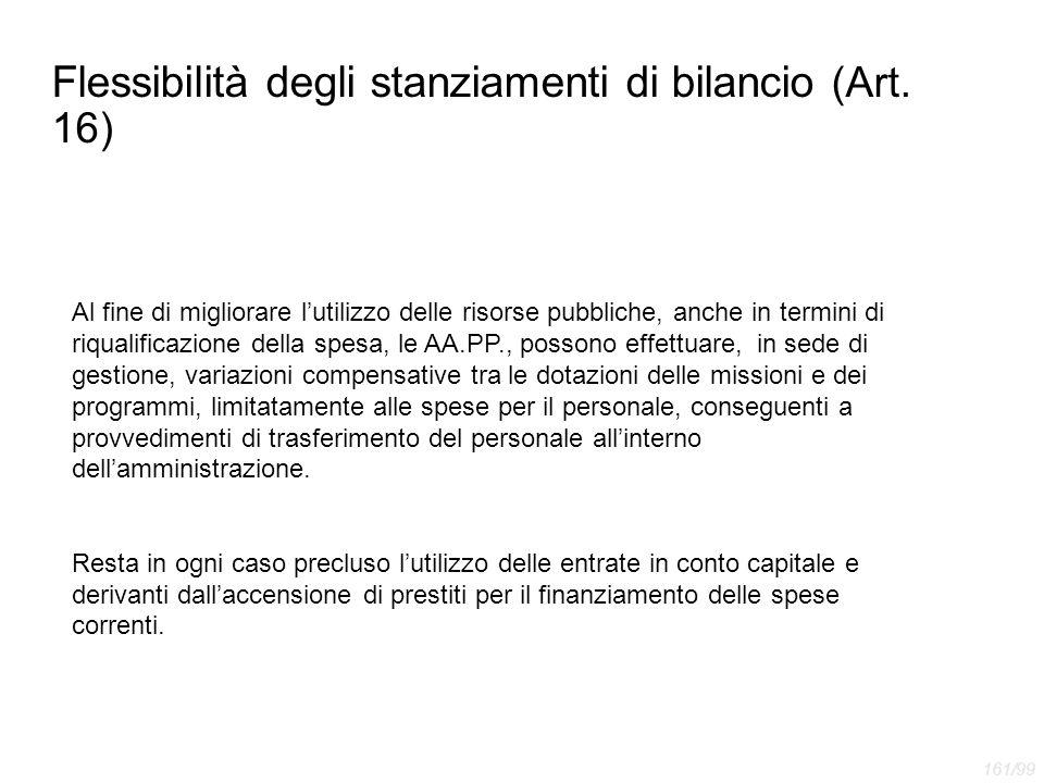 Flessibilità degli stanziamenti di bilancio (Art. 16)
