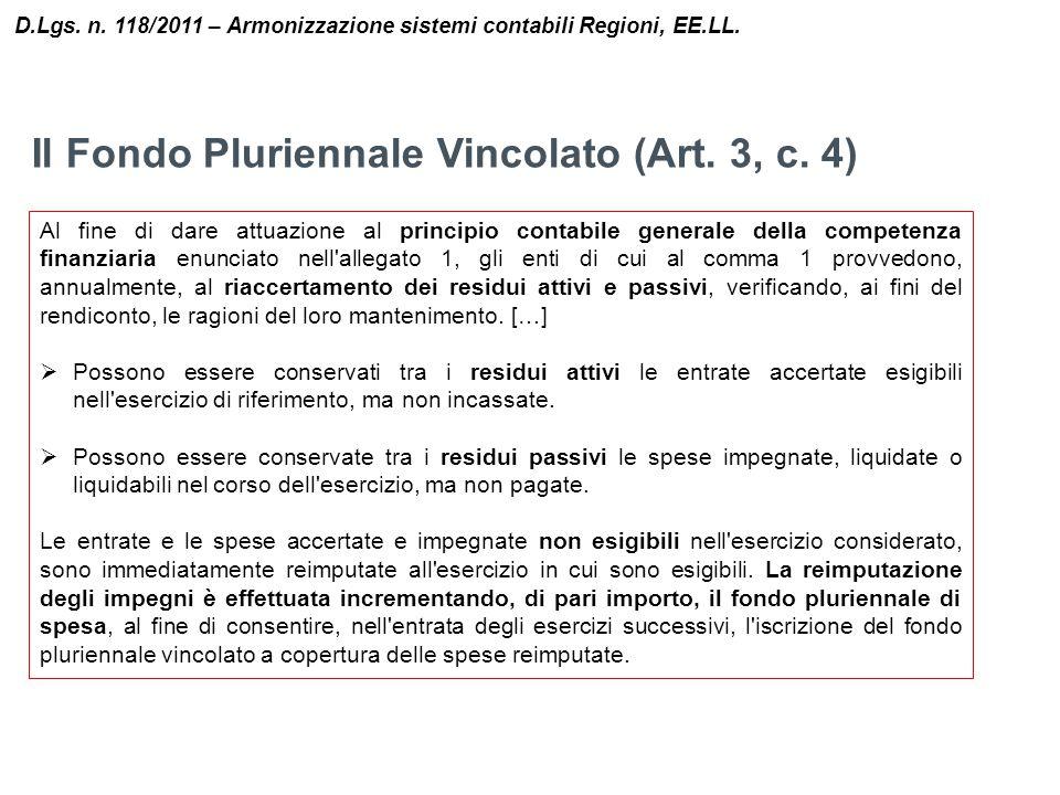 Il Fondo Pluriennale Vincolato (Art. 3, c. 4)
