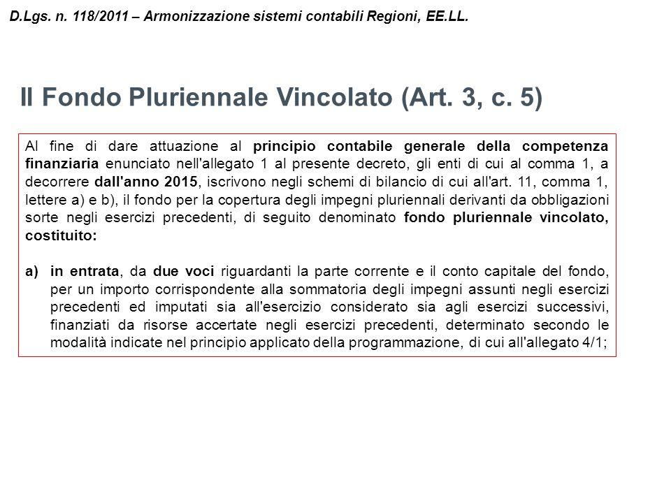 Il Fondo Pluriennale Vincolato (Art. 3, c. 5)
