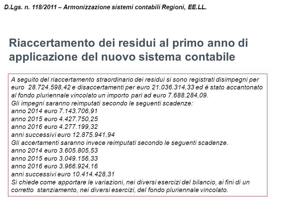 D.Lgs. n. 118/2011 – Armonizzazione sistemi contabili Regioni, EE.LL.
