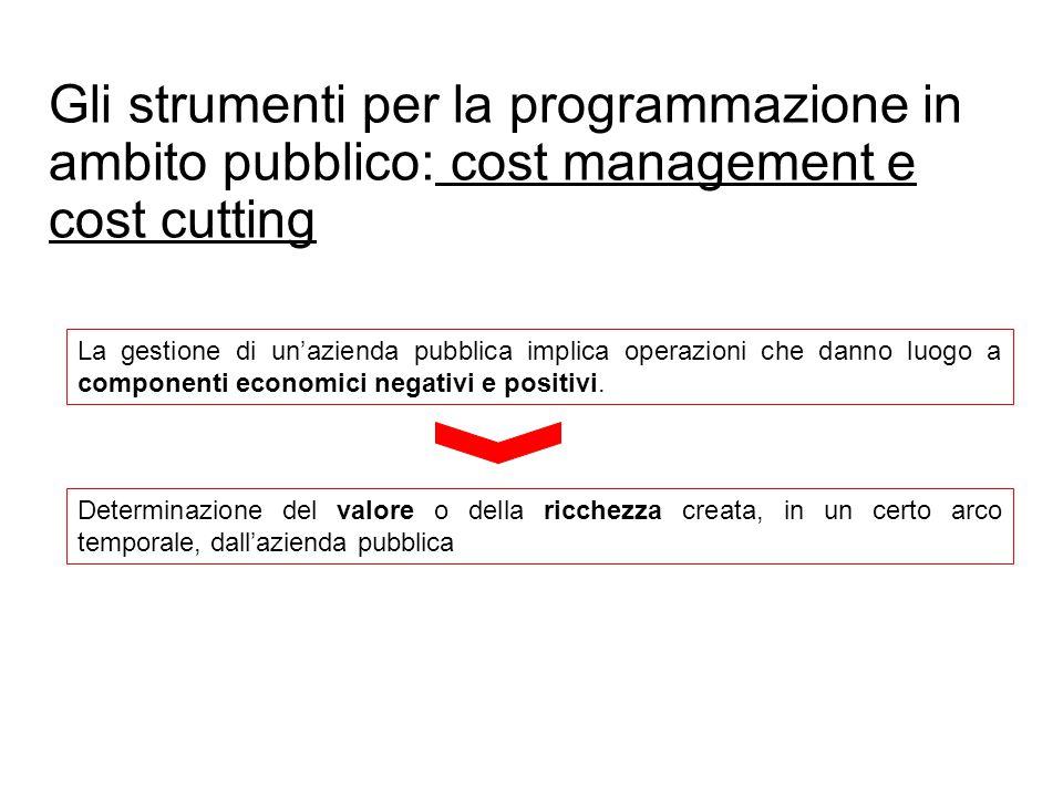 Gli strumenti per la programmazione in ambito pubblico: cost management e cost cutting