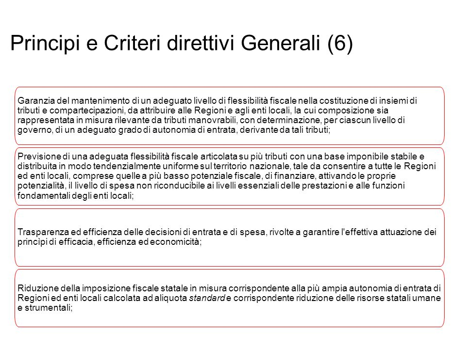 Principi e Criteri direttivi Generali (6)