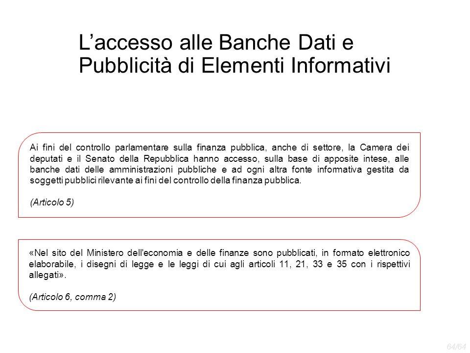L'accesso alle Banche Dati e Pubblicità di Elementi Informativi