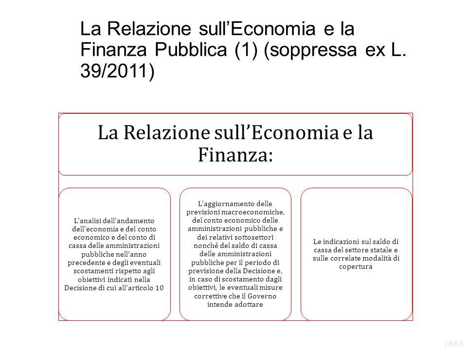 La Relazione sull'Economia e la Finanza: