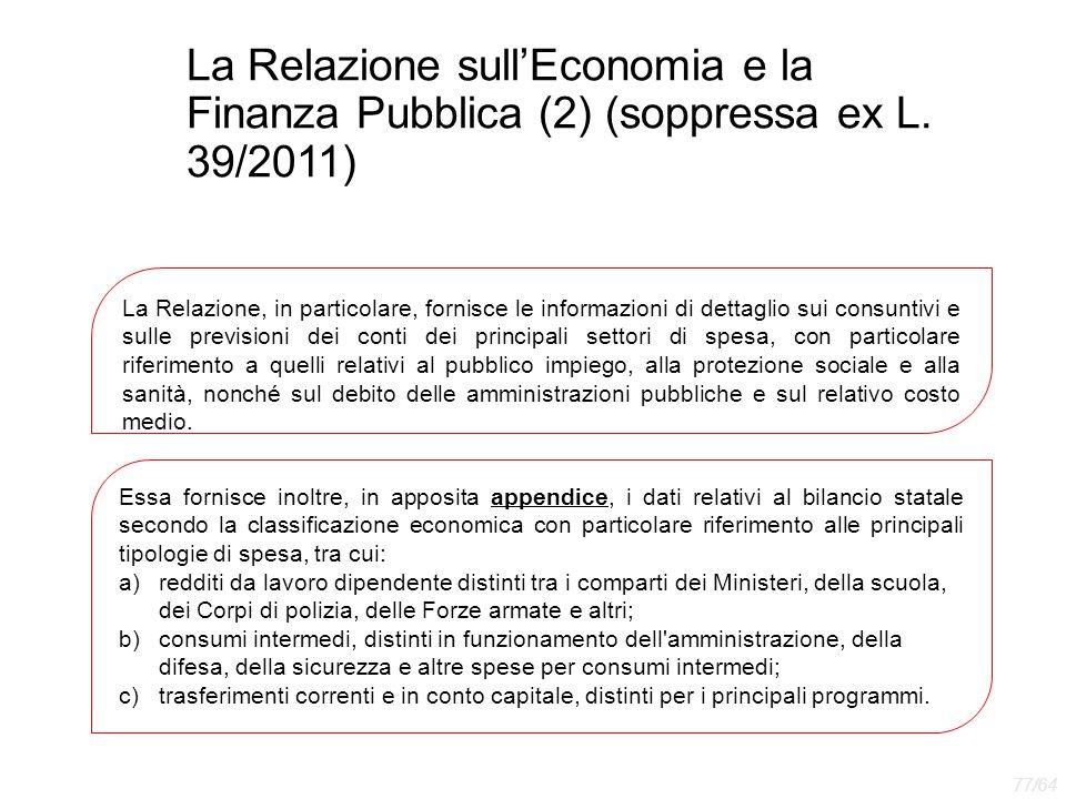 La Relazione sull'Economia e la Finanza Pubblica (2) (soppressa ex L