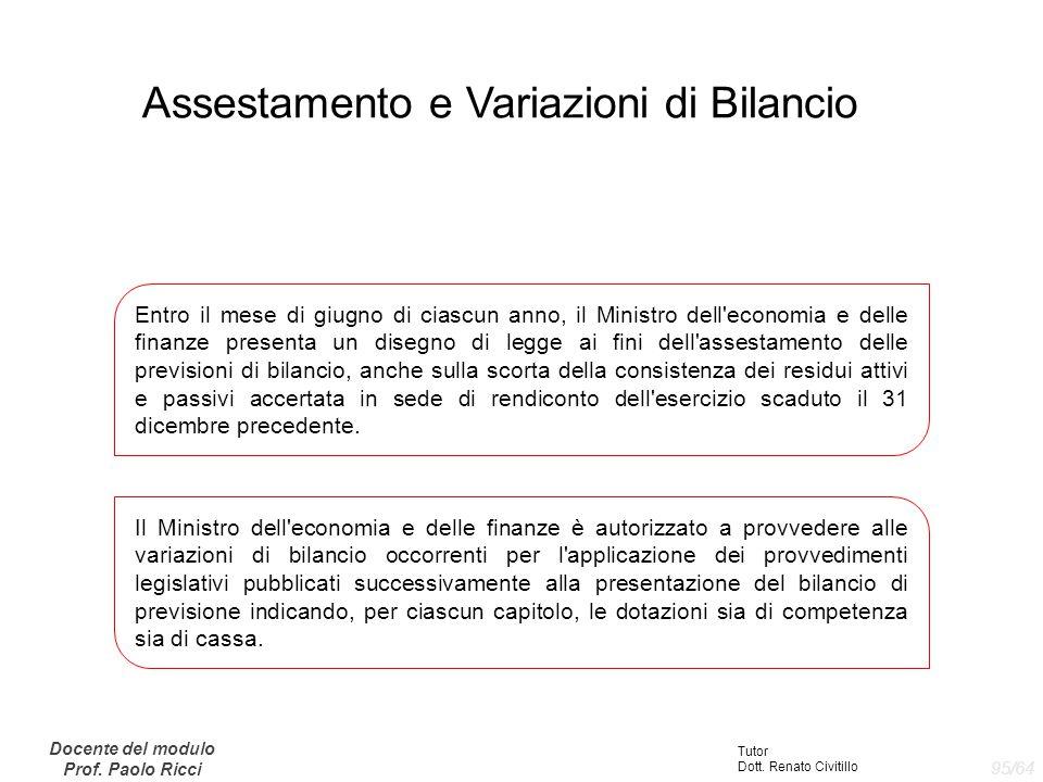 Assestamento e Variazioni di Bilancio