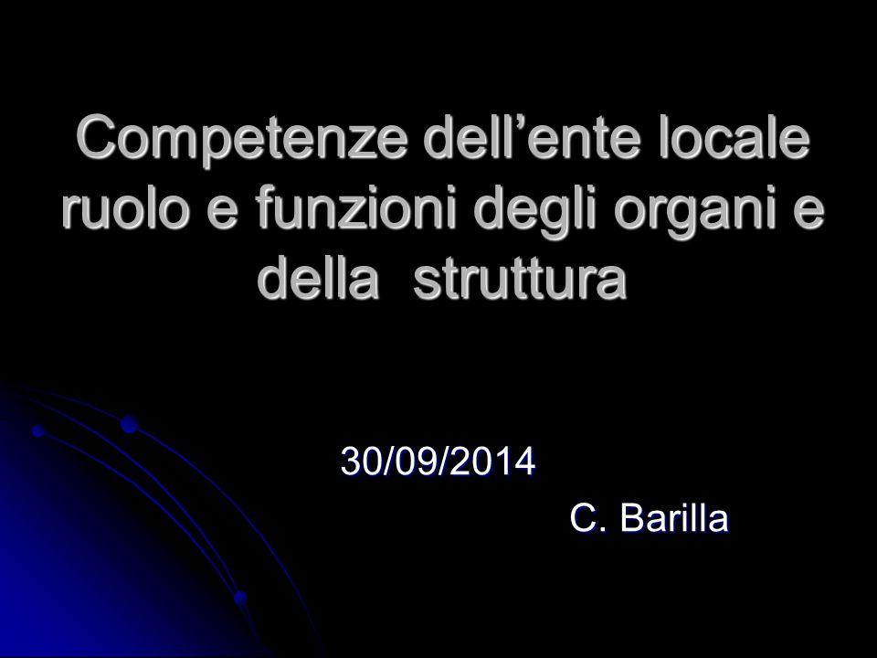 Competenze dell'ente locale ruolo e funzioni degli organi e della struttura