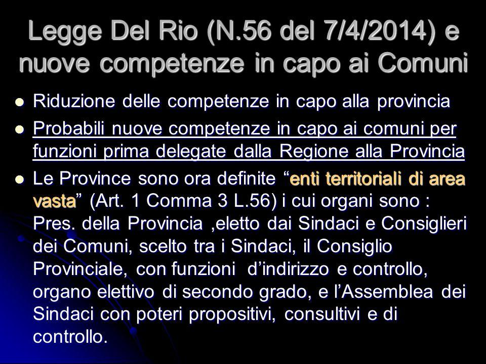 Legge Del Rio (N.56 del 7/4/2014) e nuove competenze in capo ai Comuni