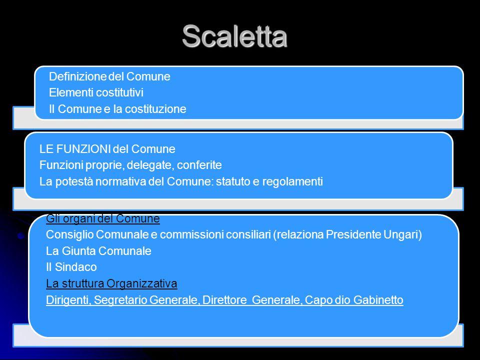 Scaletta Definizione del Comune Elementi costitutivi