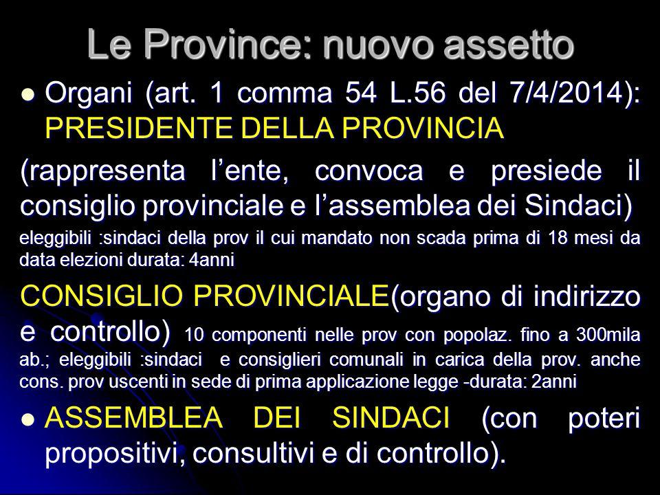 Le Province: nuovo assetto
