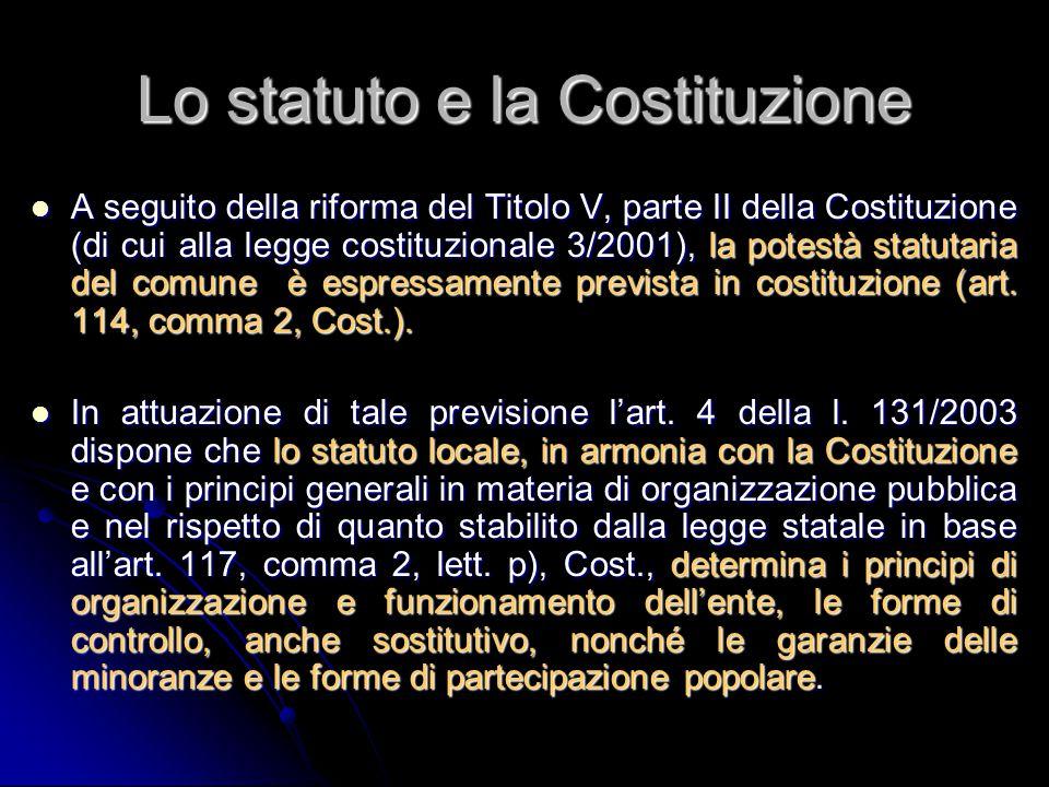 Lo statuto e la Costituzione