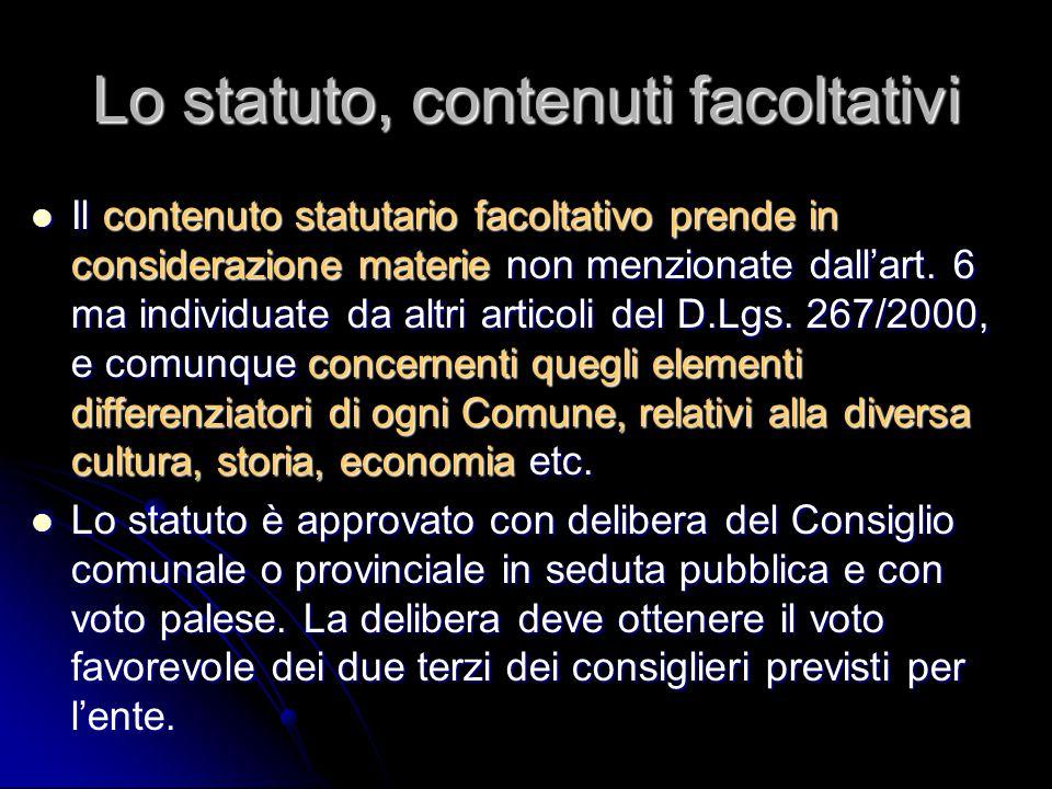 Lo statuto, contenuti facoltativi
