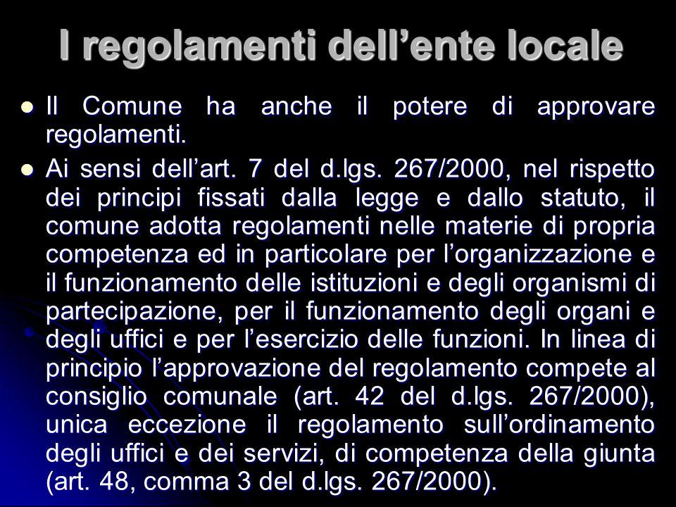 I regolamenti dell'ente locale