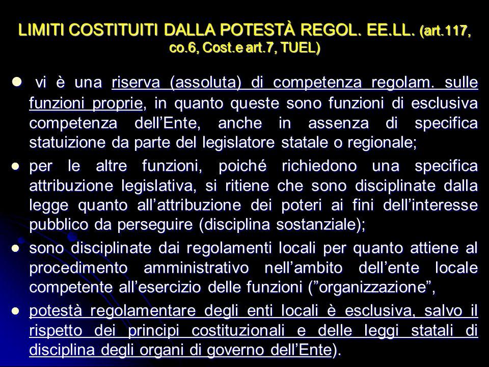 LIMITI COSTITUITI DALLA POTESTÀ REGOL. EE. LL. (art. 117, co. 6, Cost