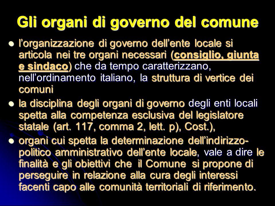 Gli organi di governo del comune