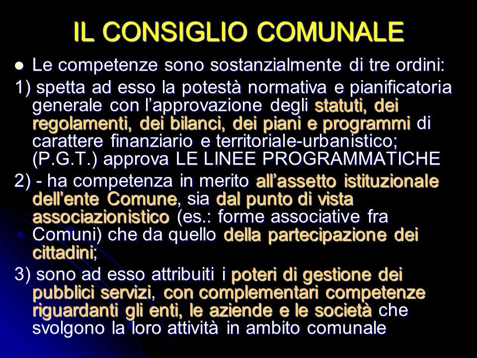 IL CONSIGLIO COMUNALE Le competenze sono sostanzialmente di tre ordini: