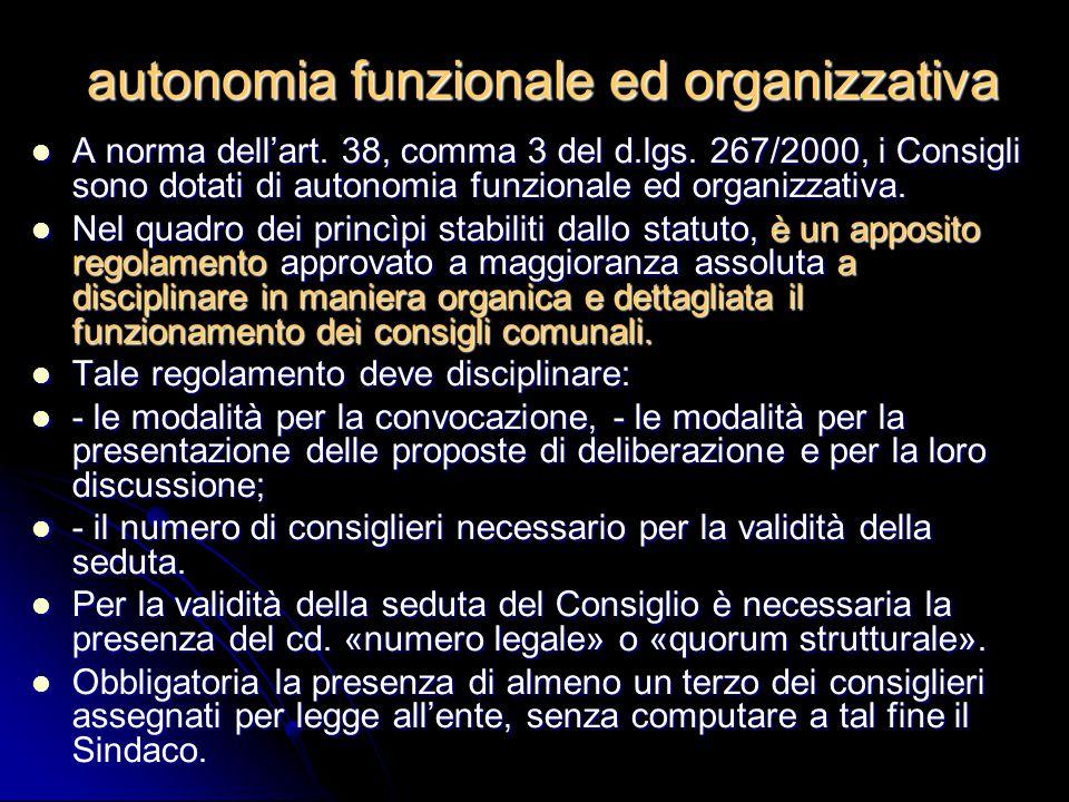 autonomia funzionale ed organizzativa
