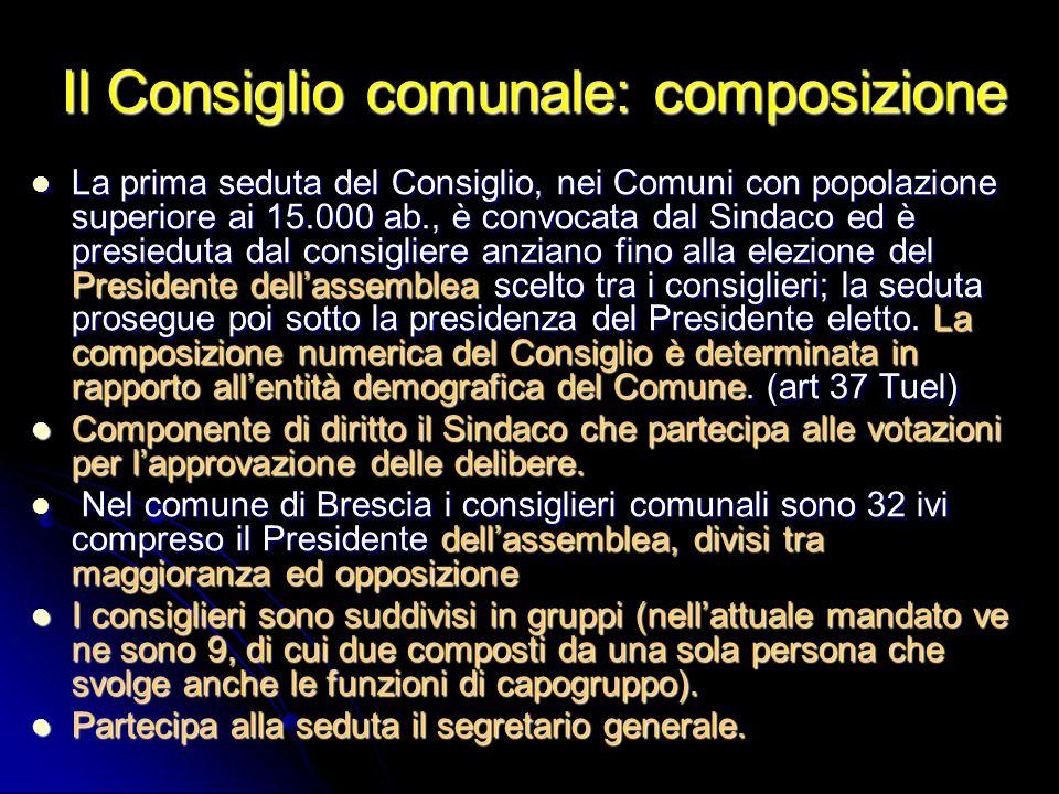 Il Consiglio comunale: composizione