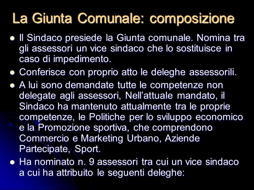 La Giunta Comunale: composizione
