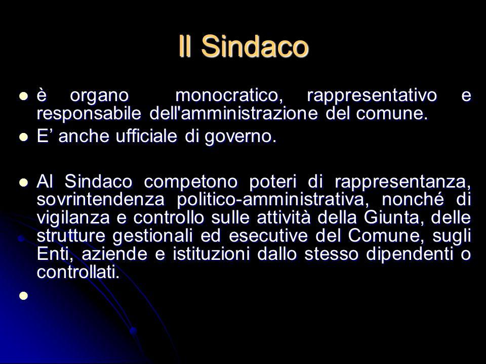 Il Sindaco è organo monocratico, rappresentativo e responsabile dell amministrazione del comune. E' anche ufficiale di governo.