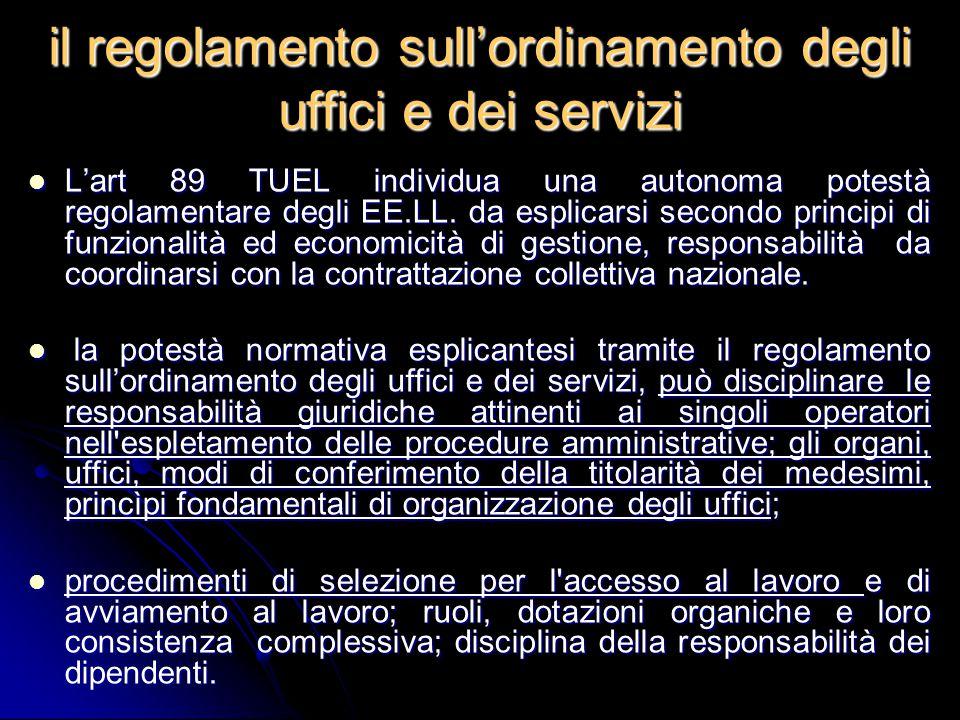 il regolamento sull'ordinamento degli uffici e dei servizi
