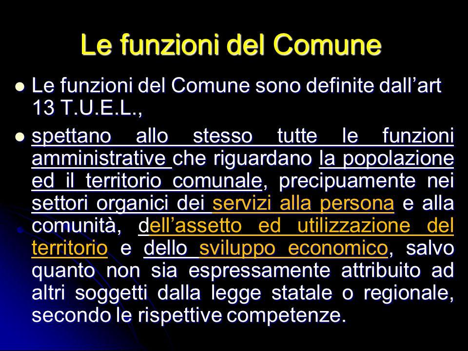 Le funzioni del Comune Le funzioni del Comune sono definite dall'art 13 T.U.E.L.,