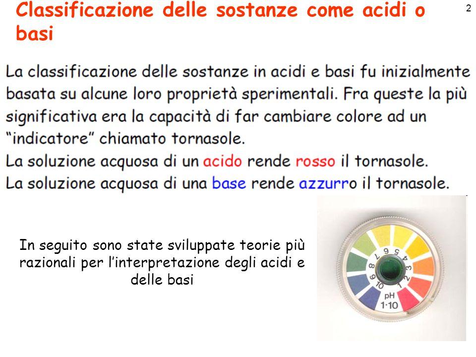 Classificazione delle sostanze come acidi o basi