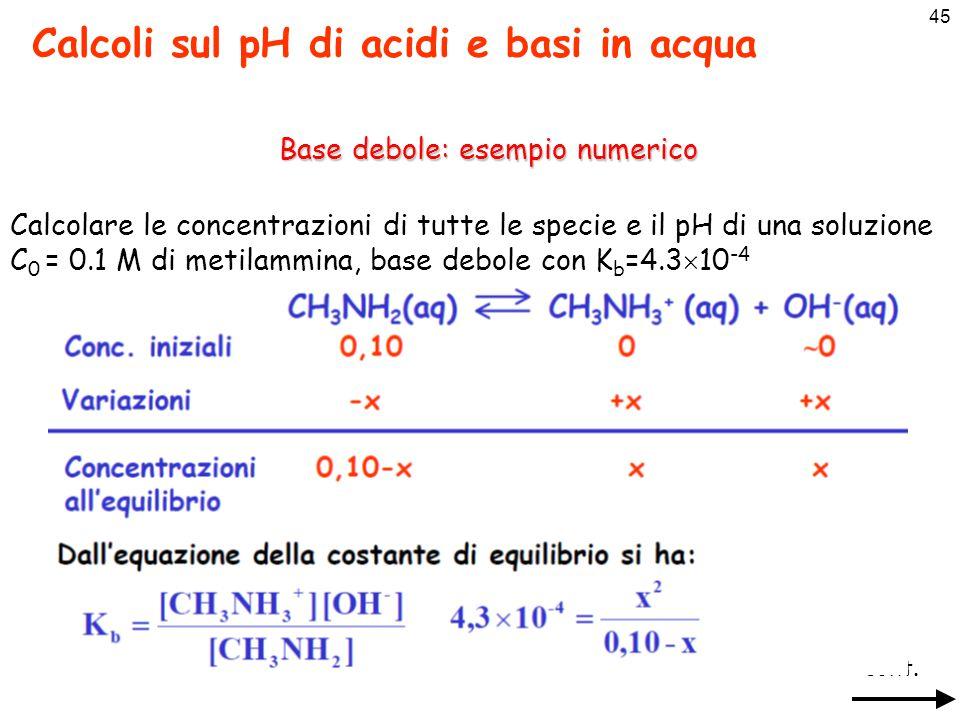 Base debole: esempio numerico