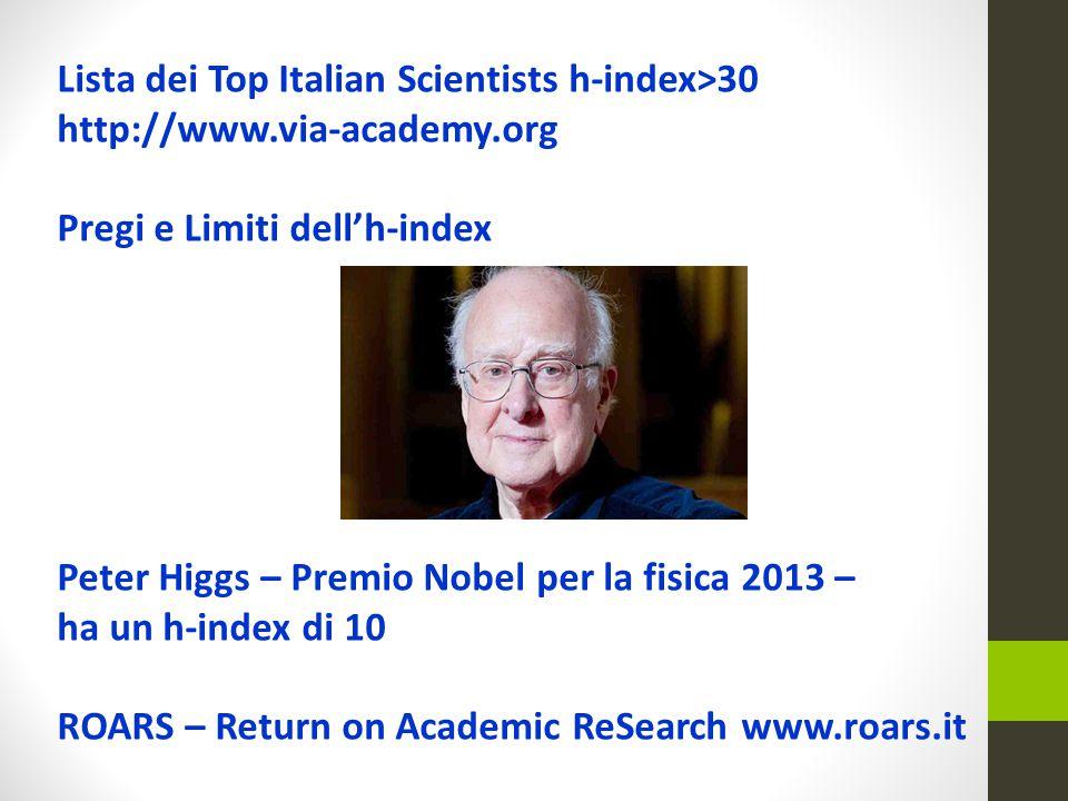 Lista dei Top Italian Scientists h-index>30