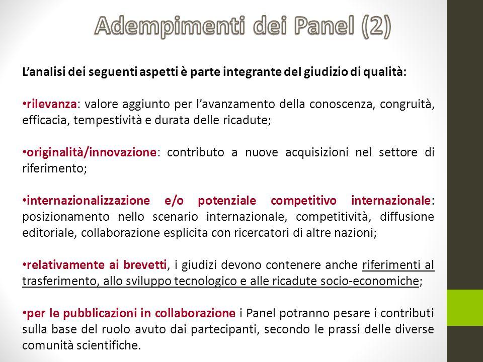 Adempimenti dei Panel (2)