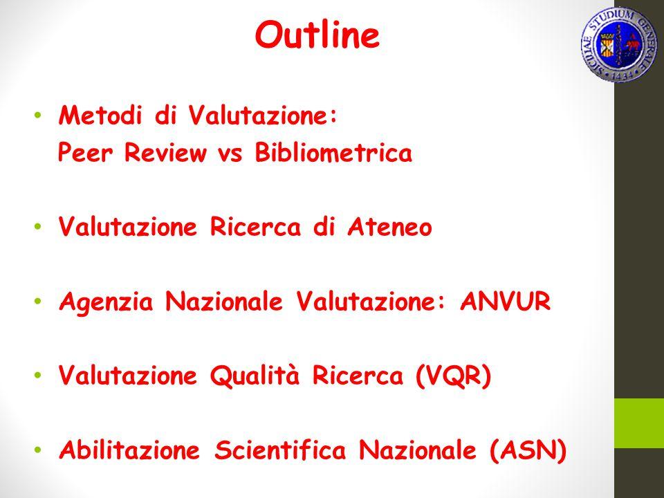 Outline Metodi di Valutazione: Peer Review vs Bibliometrica