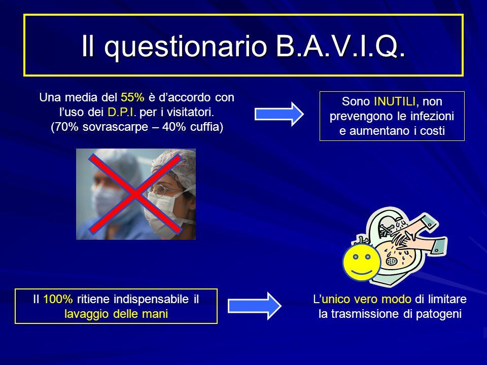 Il questionario B.A.V.I.Q. Una media del 55% è d'accordo con l'uso dei D.P.I. per i visitatori. (70% sovrascarpe – 40% cuffia)