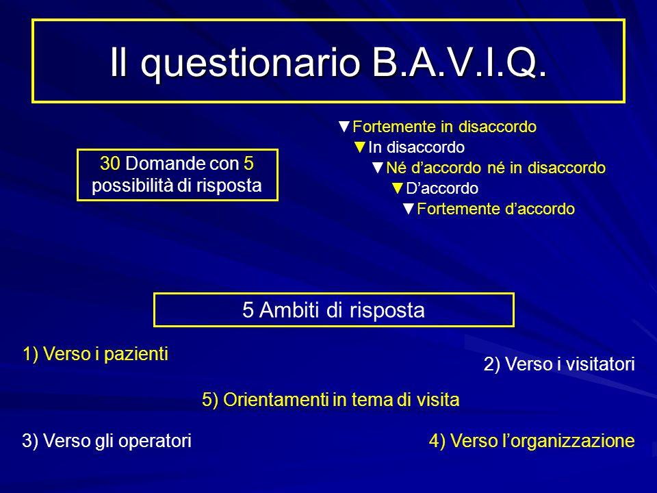 Il questionario B.A.V.I.Q. 5 Ambiti di risposta