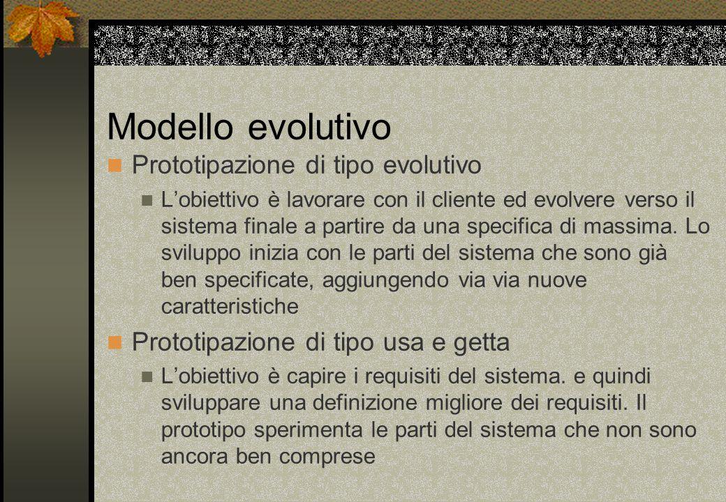 Modello evolutivo Prototipazione di tipo evolutivo