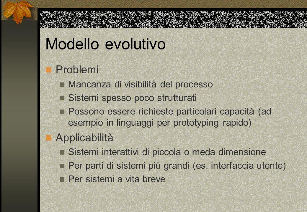 Modello evolutivo Problemi Applicabilità