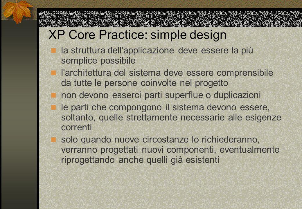 XP Core Practice: simple design